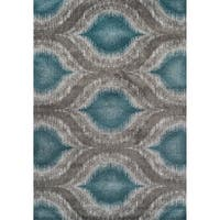 Addison Platinum Grey/Silver Ikat Area Rug (9'6 x 13'2)