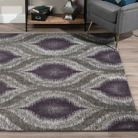 Addison Platinum Collection Nebulous Eggplant/Grey Area Rug