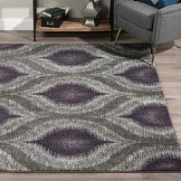 Addison Platinum Collection Nebulous Eggplant/Grey Area Rug - 7'10 x 10'7