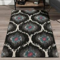 Addison Platinum Grey/Ivory/Peacock Moroccan Ikat Area Rug - 7'10 x 10'7