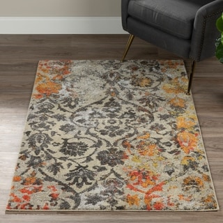Addison Platinum Distressed Damask Grey/Orange Area Rug (3'3 x 5'3)