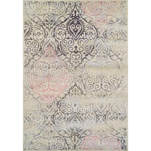 Addison Platinum Collection Vintage Damask Grey/Ivory/Pink Area Rug (7u0026#x27