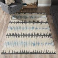 Addison Blair Grey/Blue/Beige Tribal Striped Area Rug