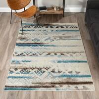 Addison Blair Blue/Beige Abstract Tribal Area Rug