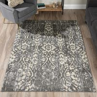 Addison Blair Grey/Pewter Vintage Damask Area Rug - 8'2 x 10'
