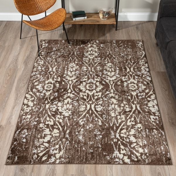 Damask Taupe Rug: Shop ADDISON Blair Vintage Damask Brown/Taupe Area Rug (3