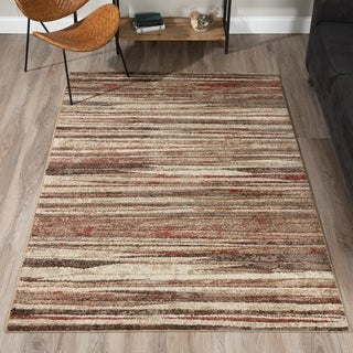 "ADDISON Blair Abstract Striped Spice/Beige Area Rug (3'3""X5'1"")"
