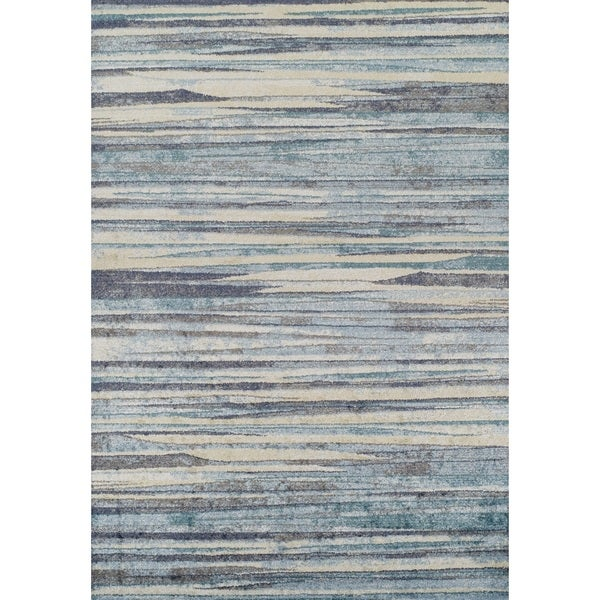 Addison Blair Blue/Beige Abstract Striped Area Rug