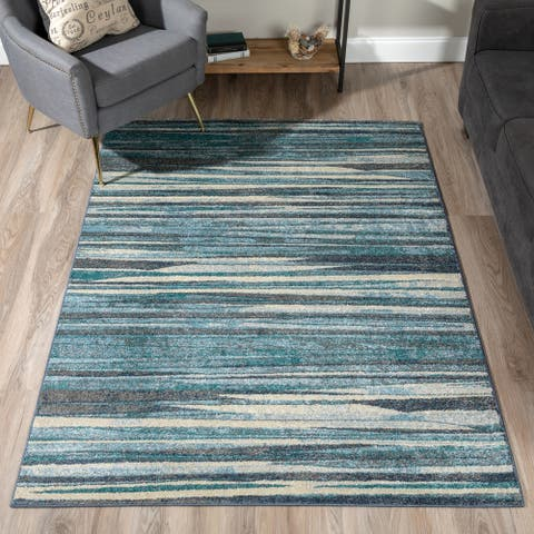 """Addison Blair Blue/Beige Abstract Striped Area Rug (8'2 x 10') - 8'2""""X10'"""