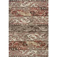 Addison Blair Striped Scroll Spice/Taupe/Brown Area Rug - 8'2 x 10'