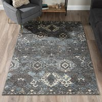 "ADDISON Blair Distressed Ikat Gray/Blue Area Rug (8'2""X10')"