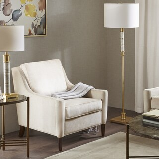 Madison Park Signature Windsor Ivory Upholstered Moroccan Finish Wood Lounge Chair - Natural