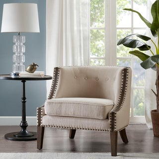 Madison Park Reese Cream Foam Upholstered Wooden Accent Chair