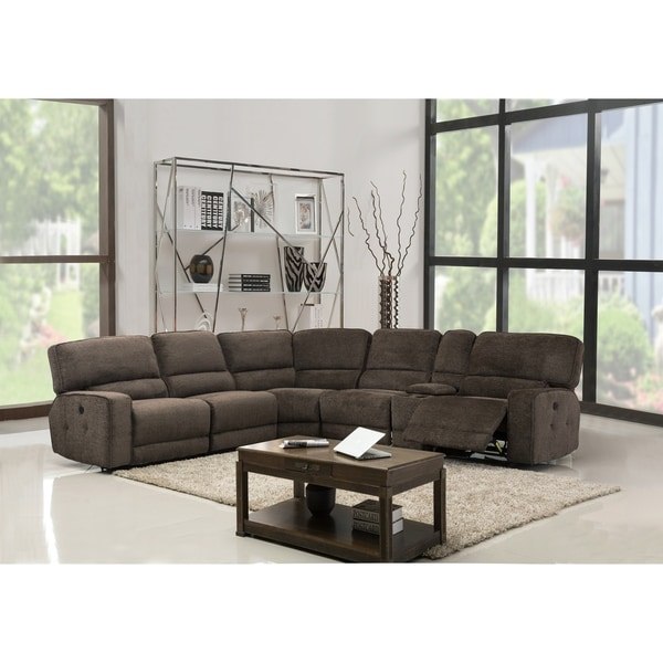 GU Industries Chenille Fabric Upholstered Reclining Sectional Sofa