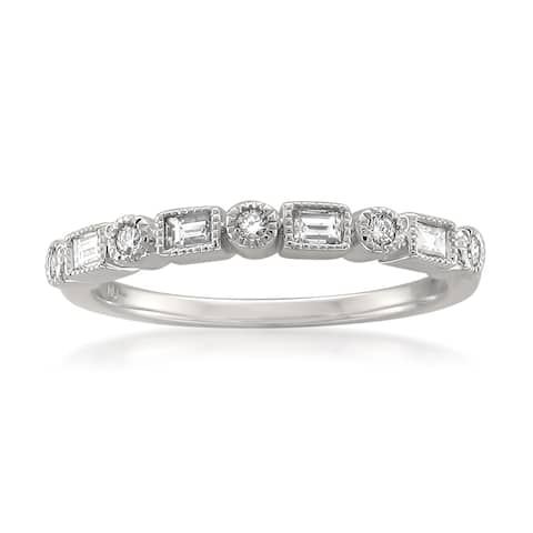 Montebello Platinum 1/4ct TDW Diamond Bezel Milgrain Wedding Band - White H-I - White H-I