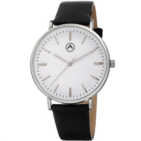 Akribos XXIV Classic Contemporary Timepiece Quartz Leather Strap Watch