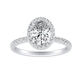 14k Gold 1ct TDW Oval Diamond with Halo Engagement Ring by Auriya