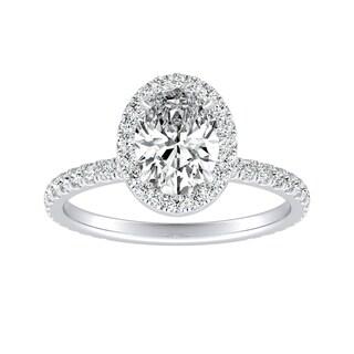 Auriya 14k Gold Certified 1ct TDW Oval-Cut Diamond Halo Engagement Ring