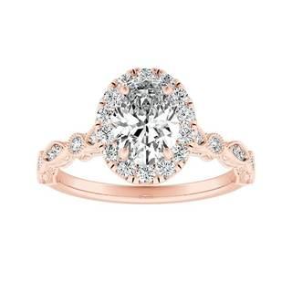 Auriya Vintage 2/3ct TDW Oval Diamond Halo Engagement Ring 14k Gold
