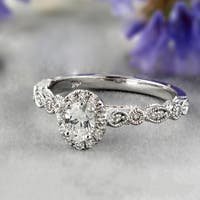 14k Gold Vintage Inspired 1/3ct TDW Oval Diamond Halo Engagement Ring by Auriya