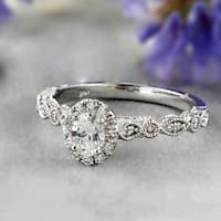 Auriya 14k Gold 2/3ct TDW Oval Cut Halo Vintage Diamond Engagement Ring