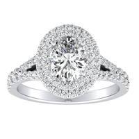 Auriya 14k Gold 4/5ct TDW Oval-Cut Diamond Double Halo Engagement Ring - White G-H