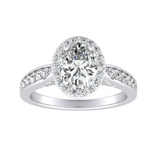 Auriya 14k Gold Certified 4/5ct TDW Halo Oval Diamond Engagement Ring