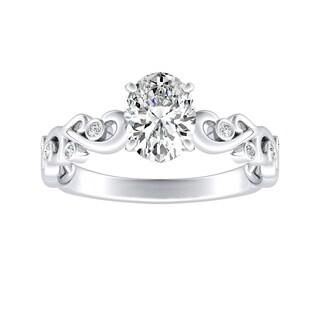 Auriya 14k Gold Certified 1/3ct TDW Vintage Filigree Scroll Oval-Cut Diamond Engagement Ring