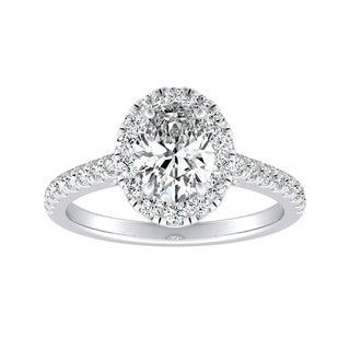 Auriya 14k Gold 3/4ct TDW Oval-Cut Diamond Halo Engagement Ring