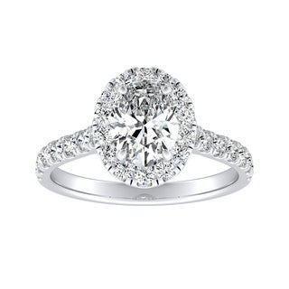 Auriya 14k Gold 1ct TDW Oval-Cut Diamond Halo Engagement Ring - White G-H
