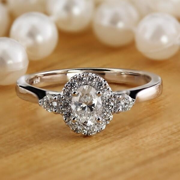01fe3ba174cb1 Shop Auriya 3/5ctw 3 Stone Halo Oval Diamond Engagement Ring 14K ...