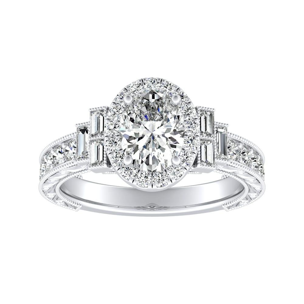 Certified Vintage Art Deco White Round Diamond 14K White Gold Engagement Ring $
