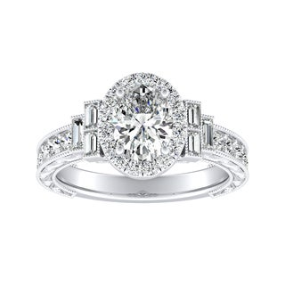 Auriya 14k Gold 1 1/3ct TDW Oval-Cut Diamond Vintage Halo Engagement Ring - White G-H