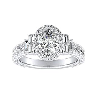 Vintage Art Deco Oval-cut Halo Diamond Ring 1 1/4cttw 14k Gold by Auriya