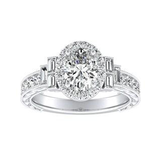 Auriya 14k Gold Certified 1 1/3ct TDW Art Deco Vintage Halo Oval Diamond Engagement Ring