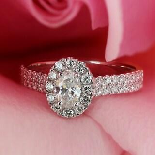 Auriya 14k Gold 4/5ct TDW Oval-Cut Diamond Split Shank Halo Engagement Ring - White G-H