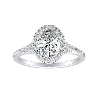 Auriya 14k Gold Certified 5/8ct TDW Halo Oval Diamond Engagement Ring