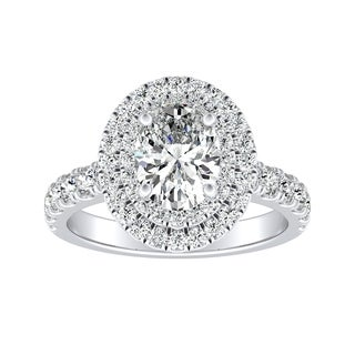 Auriya 14k Gold Certified 1ct TDW Oval-Cut Double Halo Diamond Engagement Ring