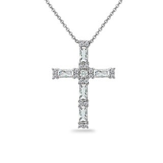 ICZ Stonez Sterling Silver Baguette-cut Cross Necklace Created with Swarovski Zirconia