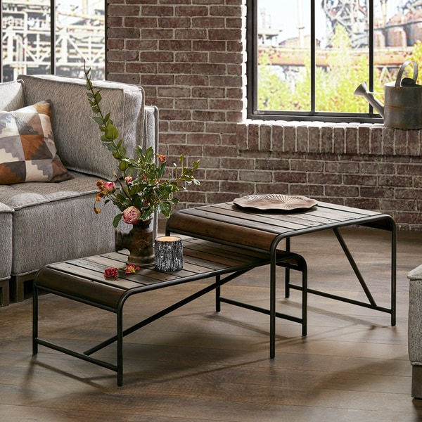 Ink+Ivy Renu Light Brown/Gunmetal Pinewood/Metal Coffee Table