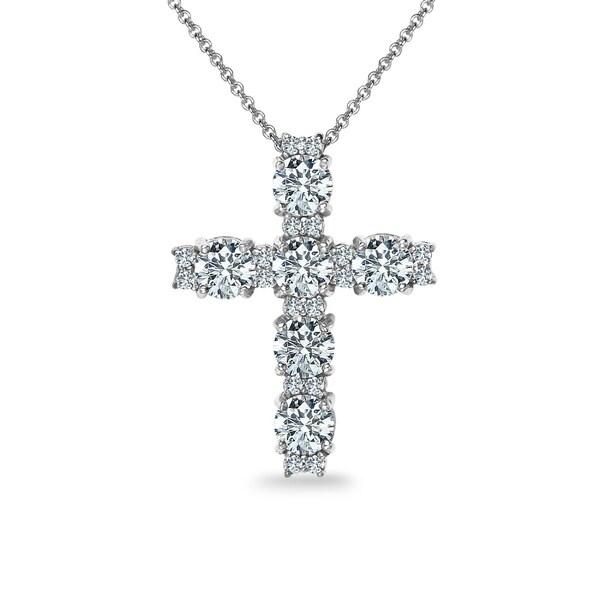 ICZ Stonez Sterling Silver Round Cross Necklace Created with Swarovski Zirconia