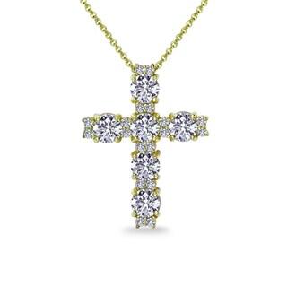ICZ Stonez Sterling Silver Round Cross Necklace Created with Swarovski Zirconia (Option: Yellow)