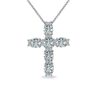ICZ Stonez Sterling Silver Round Cross Necklace Created with Swarovski Zirconia (3 options available)