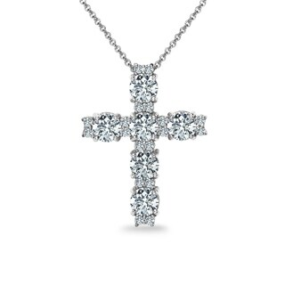 ICZ Stonez Sterling Silver Round Cross Necklace Created with Swarovski Zirconia