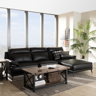 Baxton Studio Faux Leather Modern Right Facing Chaise Sectional Sofa