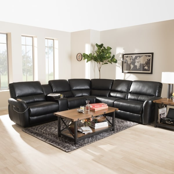 Modern Bonded Leather Power Reclining Sectional Sofa By Baxton Studio
