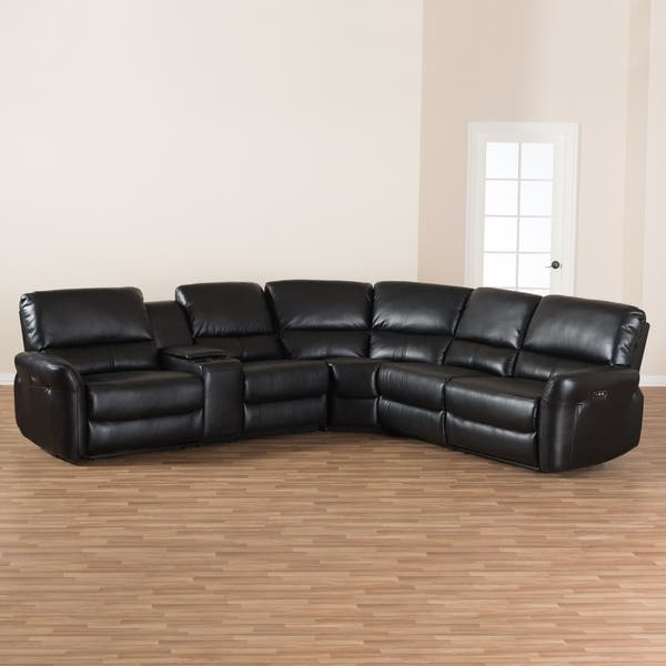 Shop Modern Bonded Leather Power Reclining Sectional Sofa by ...