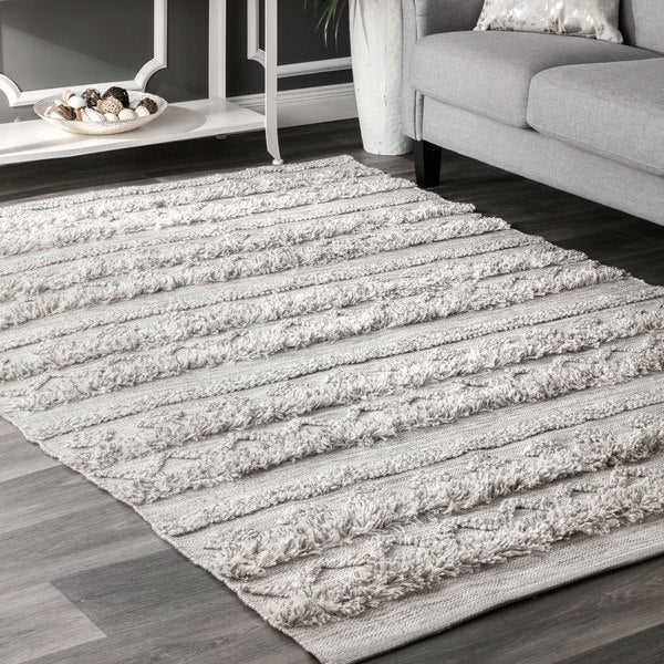 Popular nuLoom Grey Tribal Band Stripe Area Rug (7'6 x 9'6) - Free  CU37
