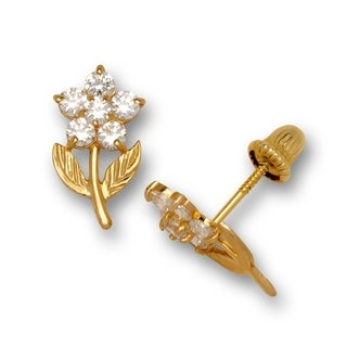 14K Gold Cubic Zirconia Textured Standing Flower Post Stud Screw-back Earrings (6mm x 10mm) (yellow or white gold)