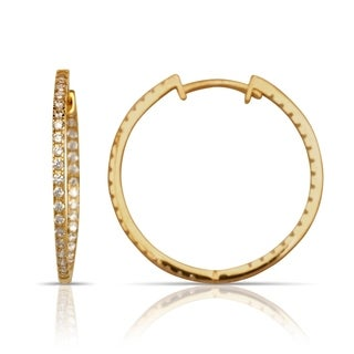 14k Gold Large Cubic Zirconia Inside-out Hinged Hoop Earrings (2mm x 32mm) (yellow or white gold)